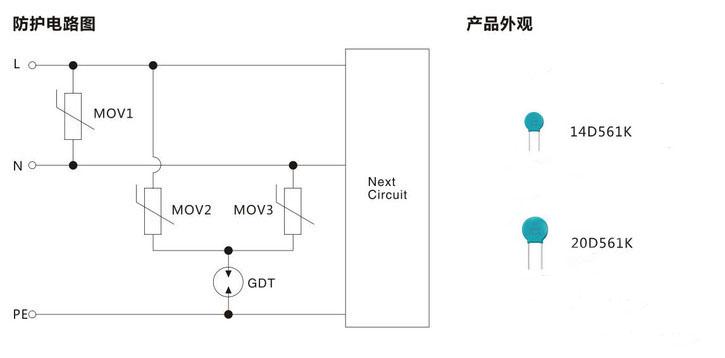 压敏电阻14d561k和20d561k在ac220v电源防护方案中